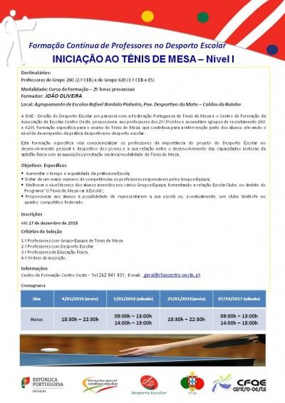 01NF2019 - Iniciação Ao Ténis De Mesa – Nível I